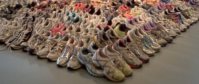 Runners' Sneakers from the Marathon Memorial
